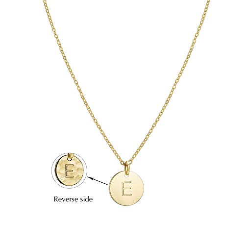 - Valloey Gold Initial Pendant Necklace, 14K Gold Filled Disc Double Side Engraved 16.5
