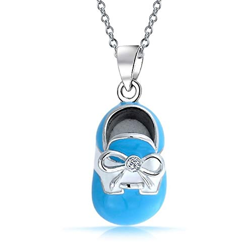 Blue White Saddle Baby Shoe Charm Pendant Necklace Gift For New Mother Women Engravable 925 Sterling Silver ()