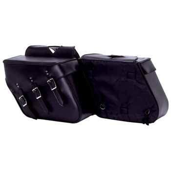 Diamond Plate 2pc Slanted Motorcycle Saddlebag Set Made Of Heavy-duty Waterproof Pvc ()