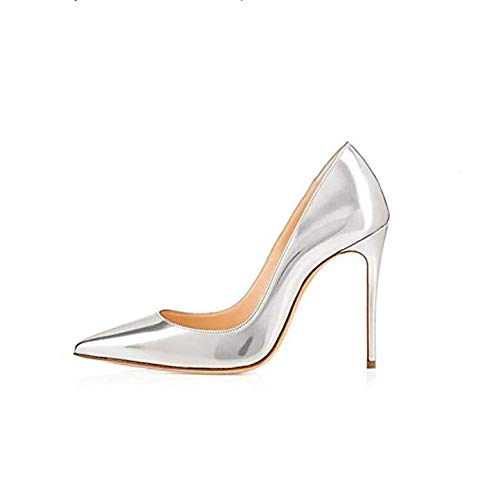 GENSHUO High Heel, 10cm/3.94 Inch Stiletto High Heel Shoes for Women Pointed Toe Party Evening Dress Pumps Prom 10 cm SR 6 Silver