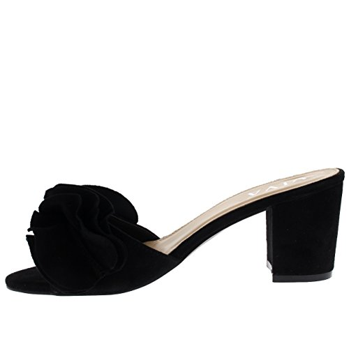 Viva Women Low Mid Heel Suede Flower Ruffle Slip On Mule Sandals Shoes Black Th1ss1ZdTo