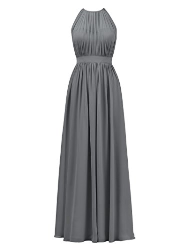 Alicepub Halter Illusion Bridesmaid Dress Chiffon Formal Evening Prom Gown Maxi, Steel Gray, US10