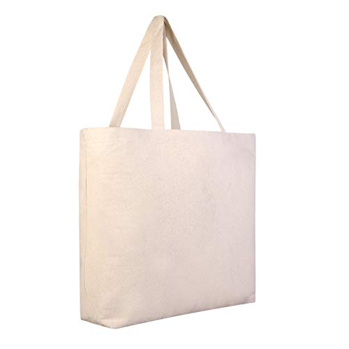 12 PACK Large Heavy Canvas Beach Tote Bag Boat Bag - Canvas Deluxe Tote Bags BULK Wholesale tote bags Canvas bags Lot Cheap Tote Bags Customizable Reusable Grocery Shopping Bags (Natural) Deluxe Beach Tote Bag