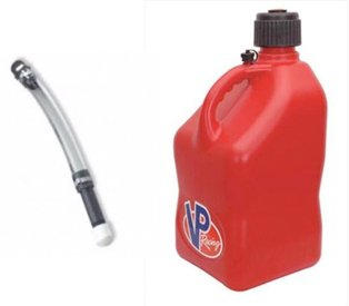 VP Racing5 Gallon Square Red Racing Utility Jug with Deluxe Filler Hose by VP Racing
