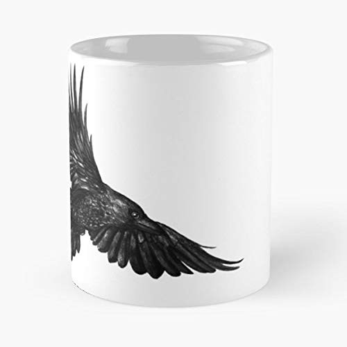 Raven Grey Black And White Watercolour - Gift Coffee Mug 11 Oz, Funny -