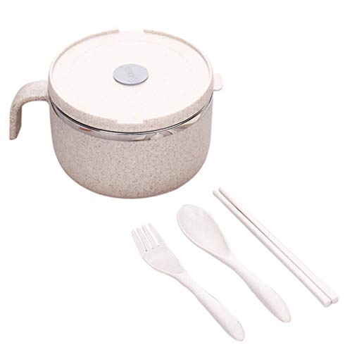 Euone Clearance Sales,Wheat Straw Noodle Bowl Handle Food Fruit Container Kitchen Rice Soup Bowl