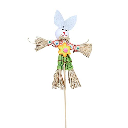 - HHmei Easter Bunny Theme Handheld Scarecrow Non Woven Fabric Straw Materials Toy Props Rabbit Scarecrow in (6GN)