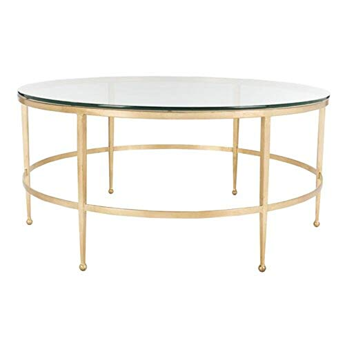 Willa Arlo Interiors Clear Tempered Glass Top Coffee Table with Antique Gold Gilt Base + Free Basic Design Concepts Expert Guide