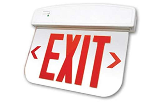 (Edge Lit Exit Sign, Flame Retardant, High-Impact Resistant Thermoplastic, Red Letters, Mirror Finish Panel, White Housing, AC Only)