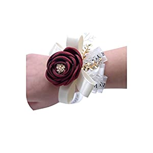 meiguiyuan Wedding Prom Corsage Silk Rose Flower Groom Boutonniere Bride Wrist Corsage Wedding Flowers Party Wrist Flowers 54