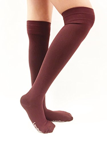 Lace Poet Surgical Knee Compression Socks - BROWN/ BURGUNDY Thermal Antimicrobial