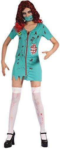Ladies Dead Bloody Gruesome Zombie Surgeon Halloween Fancy Dress Costume Outfit UK 10-14 -