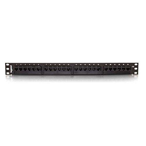 C2G 37199 24-Port Cat6 110-Type Patch Panel, Black