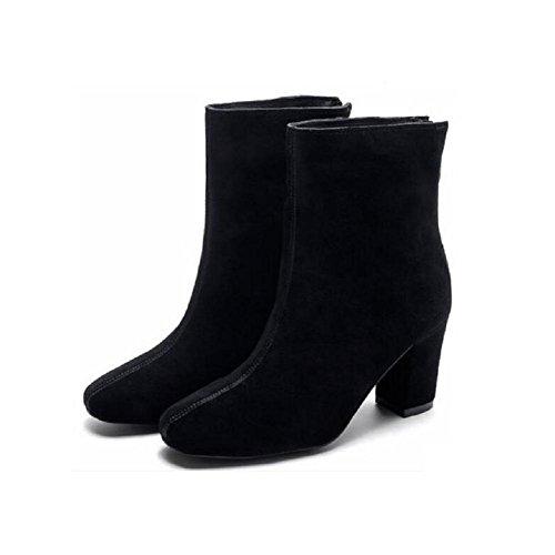 alto breve scarpe Autunno con Piazza stivali Bootie delle donne inverno camoscio testa 36 nudo spessa in con nabuk pelle qzx0qw4Z
