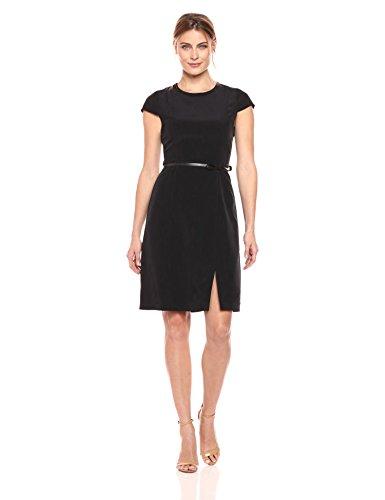 Lark+%26+Ro+Women%27s+Standard+Cap+Sleeve+Sheath+Dress+With+Bow+Belt%2C+Black%2C+Large
