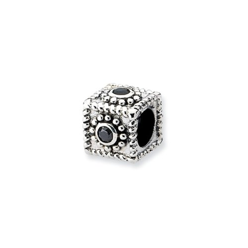 Sterling Silver Square Cubic Zirconia Bead Charm