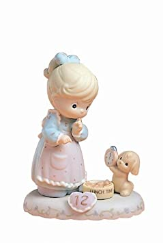 Precious Moments, Birthday Gifts, Growing In Grace, Age 12 , Bisque Porcelain Figurine, Blonde Girl, 260932B