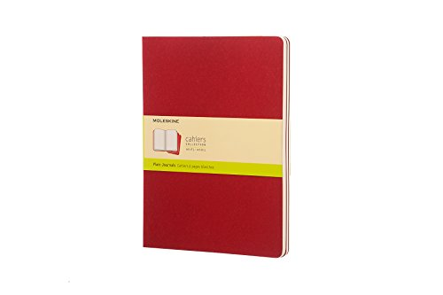 """Moleskine Cahier Journal, Soft Cover, XL (7.5"""" x 9.5"""") Plain/Blank, Cranberry Red, 120 Pages (Set of 3)"""