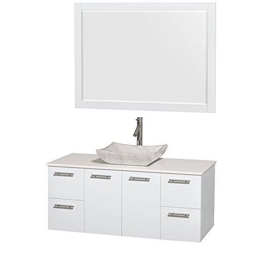 picture of Amare 48 inch Single Bathroom Vanity in Glossy White, White Man-Made Stone Countertop, Avalon White Carrera Marble Sink, and 46 inch Mirror