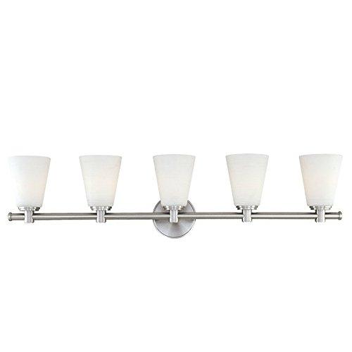 Garland 5-Light Vanity Light - Polished Nickel Finish with White Swirl Glass (Garland 5 Light Bath)