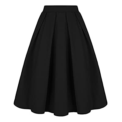 Tandisk Women's Vintage A-line Printed Pleated Flared Midi Skirt with Pockets at Women's Clothing store