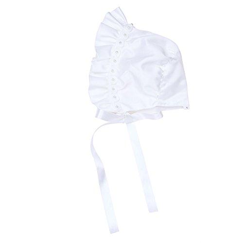 iEFiEL Infant Baby Rose Floral Ribbon Bonnet with Chin Strap Kids Princess Sun Hat Ivory 3-9 - Doll Bonnet