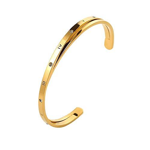 (Designer Inspired Titanium Steel Roman Numeral Open Cuff Love Bracelet with Swarovski Crystals (Gold) )