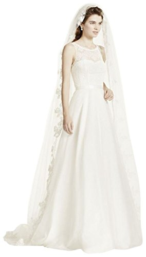 One Tier Cathedral Veil with Lace Embroidery Style FFSV524, White by David's Bridal