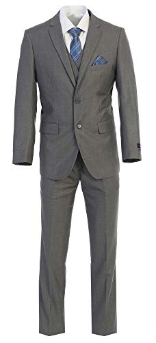 (King Formal Wear Elegant Men's Modern Fit Three Piece Two Button Suit - Many Colors (52 Long, Gray))