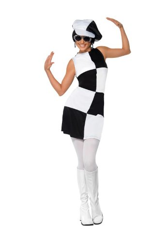Smiffys Women's 1960's Party Girl Costume, Dress and Hat, 60's Groovy Baby, Serious Fun, Size 6-8, 21142 -