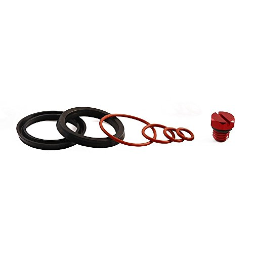 iFJF Fuel Filter Head Primer Seal Rebuild Kit and Air Bleeder Screw for 2001-2013 GM Duramax Fuel Filter Housing -Aluminum Screw(Red) ()