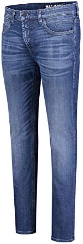 MAC Jeans Męskie spodnie Modern Fit Arne Pipe niebiesko-średnie: Odzież