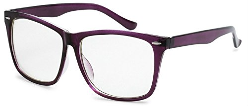 WebDeals - Retro Classic Nerd Clear Lens Wayfarer Fashion Glasses (Purple, Clear) (Sexy Updo)