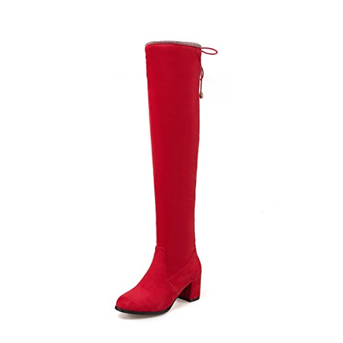 CXQ-Boots qin&X Women's Rough High heel High Over The Knee Long Boots Shoes Big size Red 5qryOOv9M