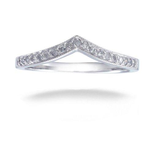 Amazoncom 018 CT VShape Milgrain Diamond Wedding Band 14K Gold