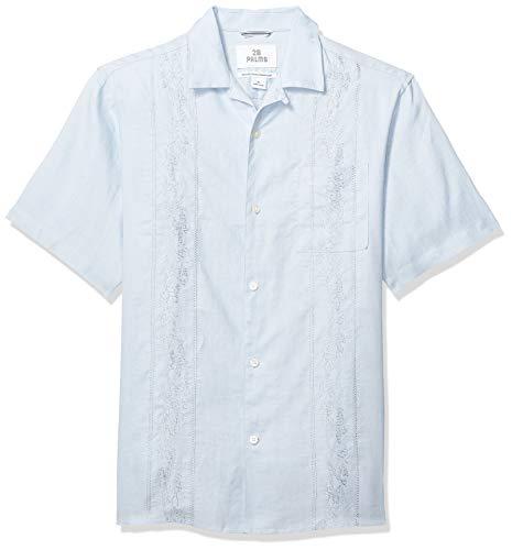 28 Palms Men's Relaxed-Fit Short-Sleeve 100% Linen Embroidered Guayabera Shirt, Light Blue, 4XL