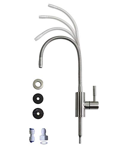Drinking Water Faucet with Flexible Gooseneck - 360 Degree Rotatable Sink Faucet Drinking Water Purifier Faucet, Cold Water Faucet Single Handle - Brushed Stainless ()