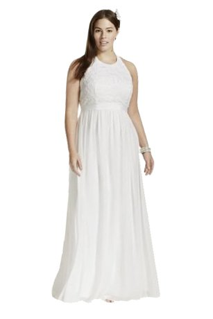 Wedding Dress Chiffon A-line with Lace Plus Size Halter Top Style 9SDWG0140 – 16, White