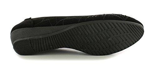 Nuevo onwedge Negro Negro De 9 tallas GB ANTIDESLIZAMIENTO Almendra Mujer de Zapatos Punta Antelina 3 zzyqHr05w