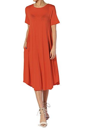 Pockets Short Copper Midi amp; Dress Flare amp; TheMogan Long A Plus W Fit Sleeve line Women tZnqTwx6g