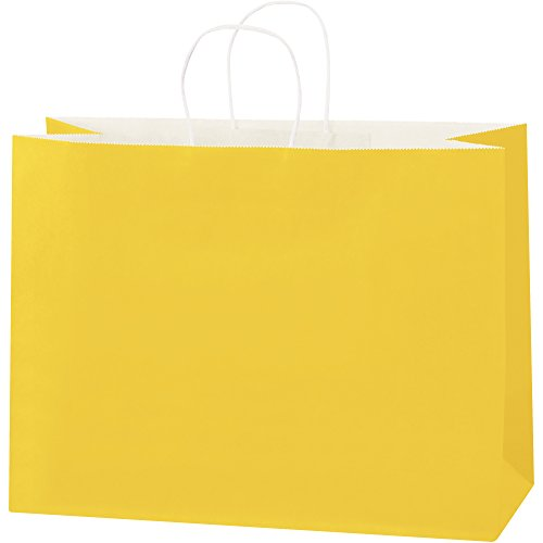 Tinted Paper Shopping Bags, 16'' x 6'' x 12'', Buttercup, 250/Case by Choice Shipping Supplies (Image #1)