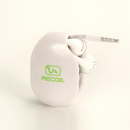 (Recoil AUTOMATIC Cord Winder for Headphones and Earbuds. No More Tangled Headphones! The Original Retactable Cord Organizer. White, Size Small)