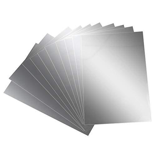 AILANDA Espejos de Pared Autoadhesivo 10 pcs Espejos de plastico laminas Flexibles con Efecto Espejo Anti caida 15 x 10cm para Dormitorio bano Escuela