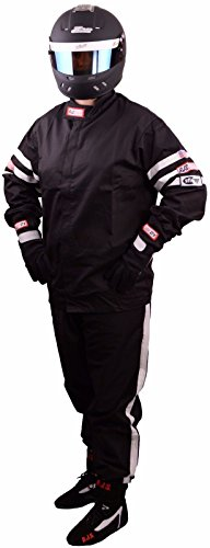 RJS Racing FIRE Suit Racing Jacket & Pants Black/White Stripe Adult Large SFI 3.2A/1 ()