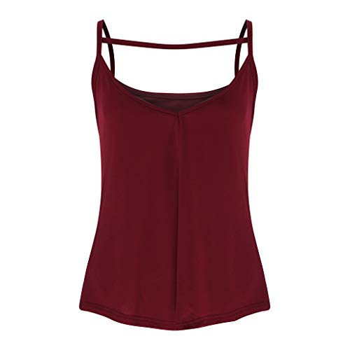 HHei_K Women Sexy Pure Color Leisure Keyhole Vest Summer Casual Cut Out Sleeveless Sling Shirt Blouse O-Neck Tank Top Wine by HHei_K (Image #1)