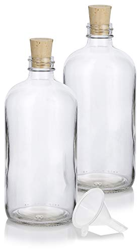16 oz Clear Glass Boston Round Bottle with Cork Stopper Closure (2 Pack) + Funnel ()