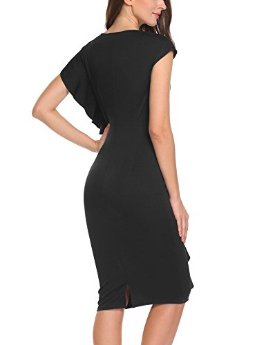 ANGVNS Slit Black Dress Party Draped Bodycon Cocktail Dress Ruffles Midi Women's Pencil prpHB