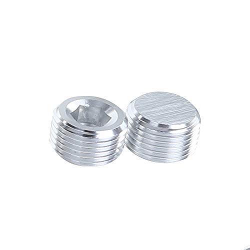 Plain Aluminum 1/8 NPT Male Socket Allen Head Pipe Plugs, Silver, Pack of 2