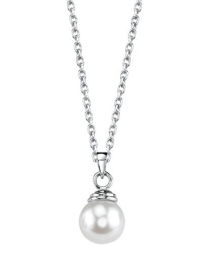 Aaa Akoya Pearl Pendant - THE PEARL SOURCE 14K Gold 8-8.5mm AAA Quality Round White Akoya Cultured Pearl Hope Pendant Necklace for Women