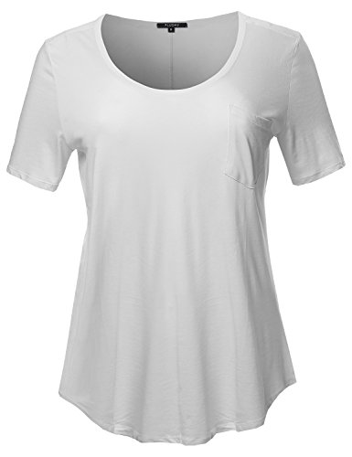 Scoop White Tee Neck (Short Sleeve Wide Scoop Neck T-Shirt White Size 1XL)